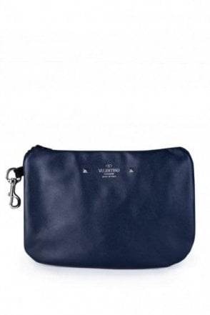 Valentino Leather Concealed Backpack Navy