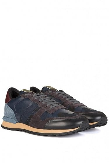 Valentino Leather Mix Camouflage Sneakers Navy