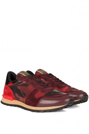 Valentino Leather Mix Camouflage Sneakers Red