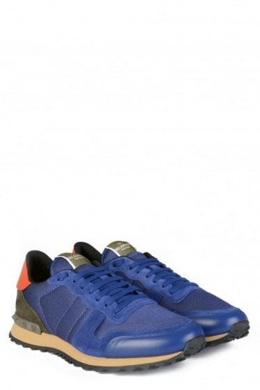 Valentino Mesh Rockstud Sneakers Royal Blue