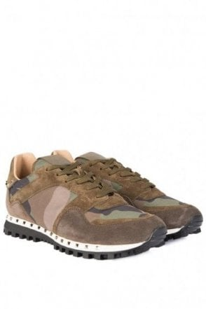 Valentino Studded Sole Camouflage Sneakers Khaki