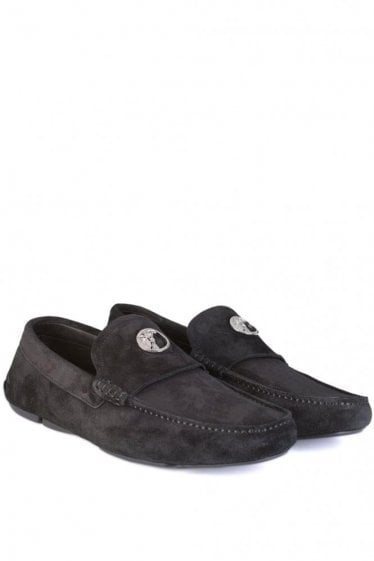 Versace Collection Suede Loafers Black