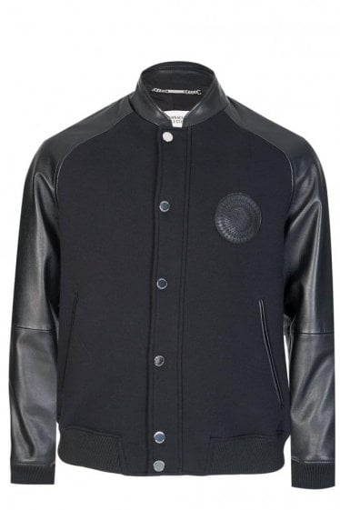 Versace Collection Sundial Leather Jacket Black