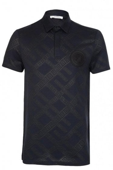 Versace Collection Sundial Medusa Polo Navy