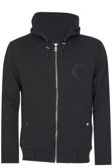 Versace Collection Sundial Medusa Zip Hoodie Black
