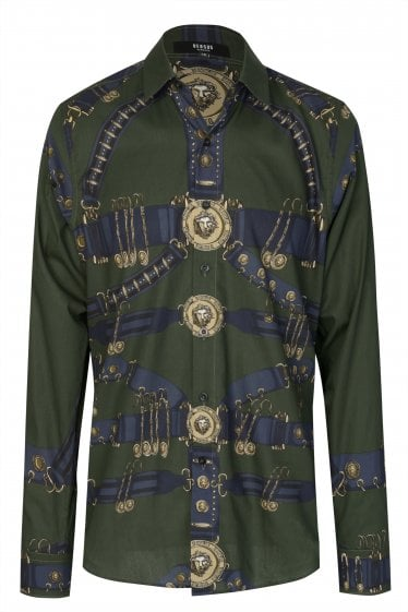 Versace Gold Buckle Printed Shirt