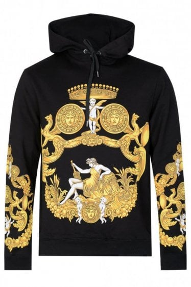 Versace Gold Print Baroque Hooded Sweatshirt