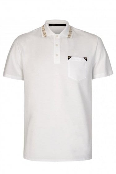 Versace Mainline Baroque Collar Polo White