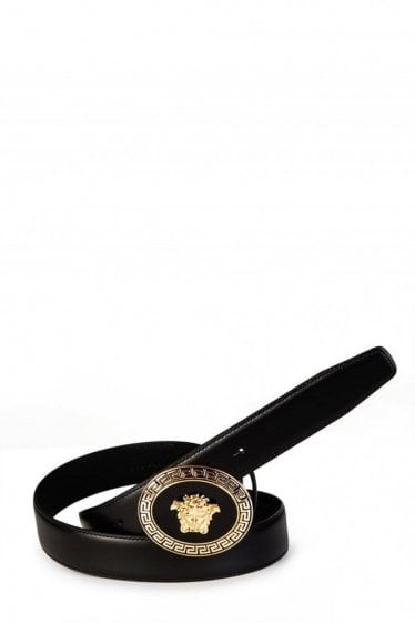 Versace Mainline Circular Medusa Gold Belt Black