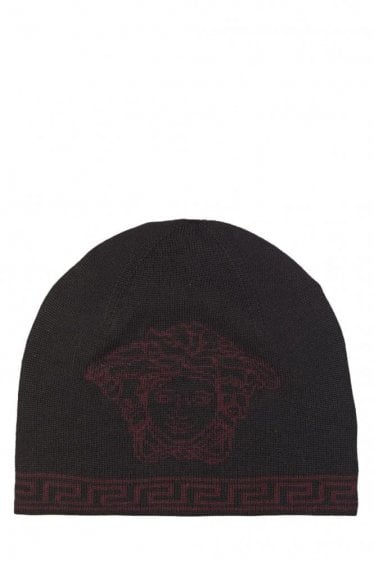 Versace Mainline Embroidered Medusa Beanie Black