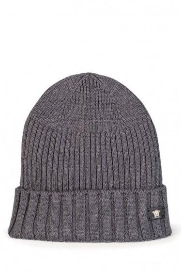 Versace Mainline Leather Medusa Plaque Beanie Grey