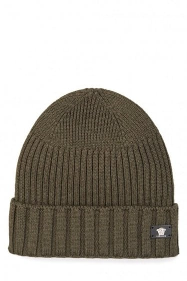 Versace Mainline Leather Medusa Plaque Beanie Khaki