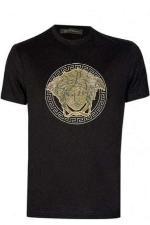 Versace Mainline Medusa Embroidered Tshirt Black