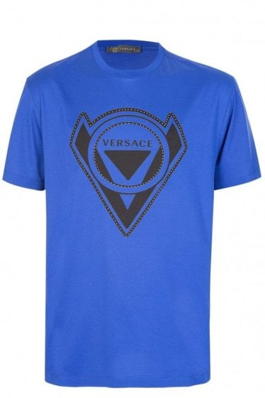 Versace Studded Logo T-Shirt Blue