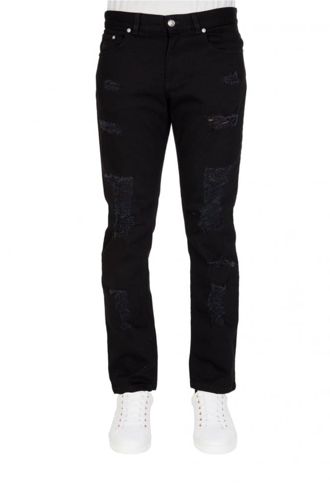 VERSACE Versus 5 Pocket Ripped Slim Fit Jeans Black