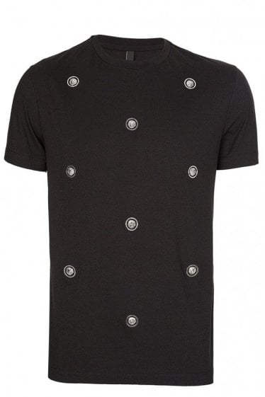 Versace Versus All Over Metal Lion Logo T-Shirt Black