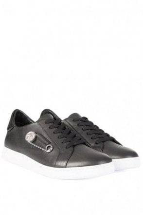 Versace Versus Contrast Sole Safety Pin Sneakers Black