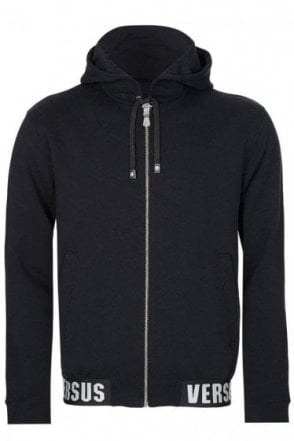 Versace Versus Hem Logo Hooded Jacket Black