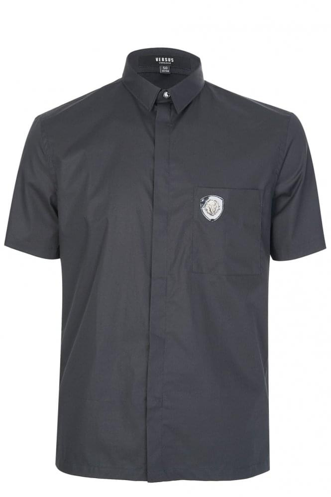 VERSACE Versus Lion Head Pocket Logo Shirt Black