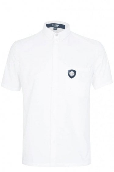 Versace Versus Lion Head Pocket Logo Shirt White