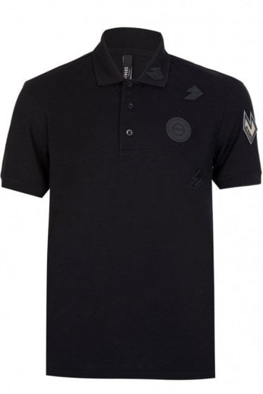 Versace Versus Metallic Badge Polo Black