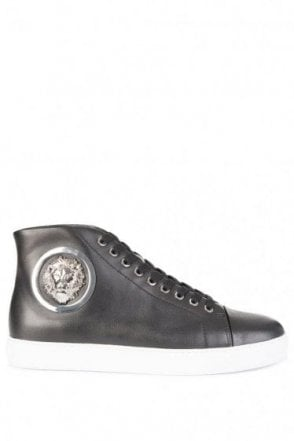 Versace Versus Mid Contrast Sole Nickel Logo Sneakers Black