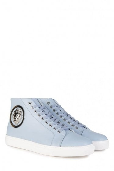 Versace Versus Mid Contrast Sole Nickel Logo Sneakers Blue