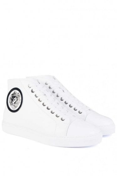 Versace Versus Nickel Logo Mid Sneakers White
