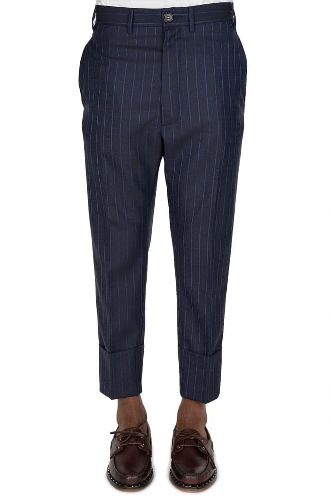 VIVIENNE WESTWOOD Combination Pin Stripe Trousers Navy