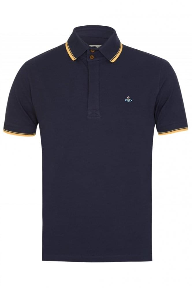VIVIENNE WESTWOOD Contrast Tip Polo Navy