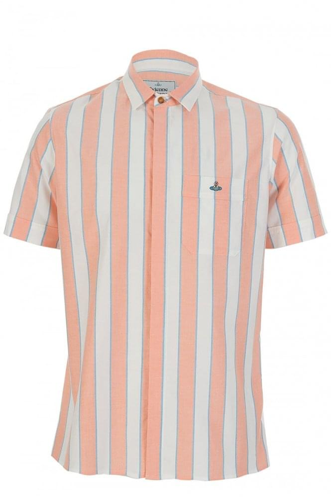 VIVIENNE WESTWOOD Man Short Sleeve Block Stripe Shirt Orange