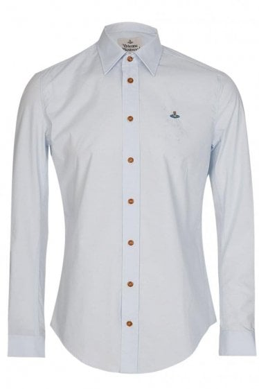 Vivienne Westwood One Button Poplin Shirt Blue
