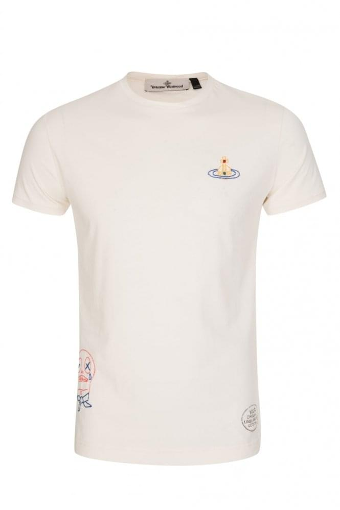 VIVIENNE WESTWOOD Organic Embroidered Jersey T-Shirt White