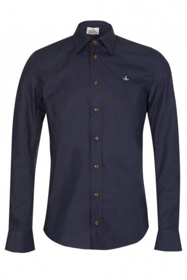 Vivienne Westwood Poplin One Button Shirt Navy