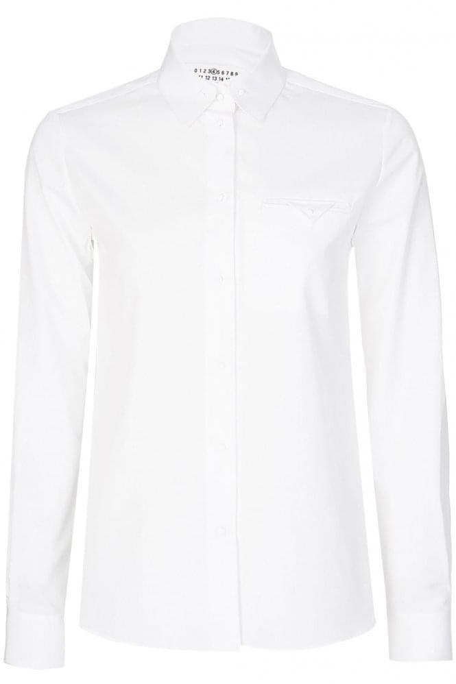 White Cotton Poplin Womens Shirt