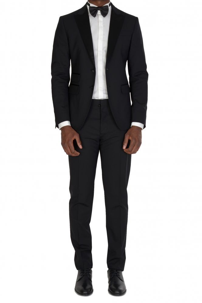 Worsted Wool 2 Piece Suit Black