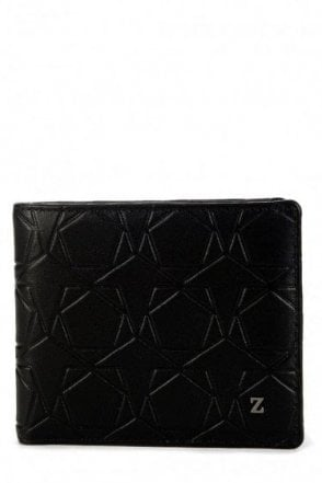 Z Zegna Leather Embossed Wallet Black