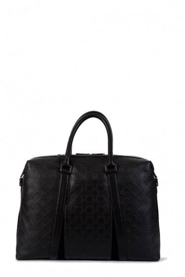 Z Zegna Leather Holdall Bag Black